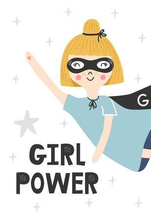 Kids poster with cute ginger flying girl superhero and hand drawn lettering. Baby nursery wall art. Vector illustration.