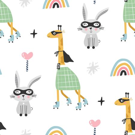 Seamless pattern with giraffe and hare animals. Color baby rainbows. Vector illustration.