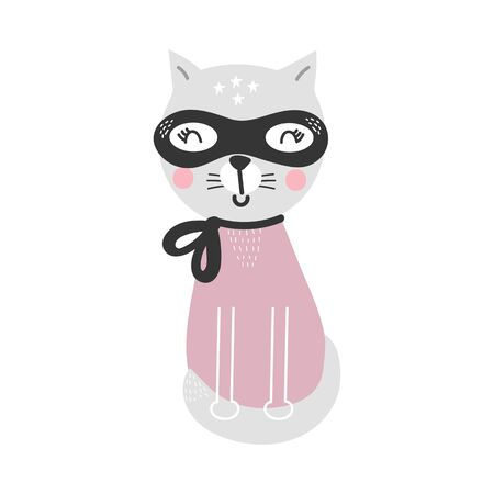 Cute cartoon cat animal. Superhero character, vector illustration.