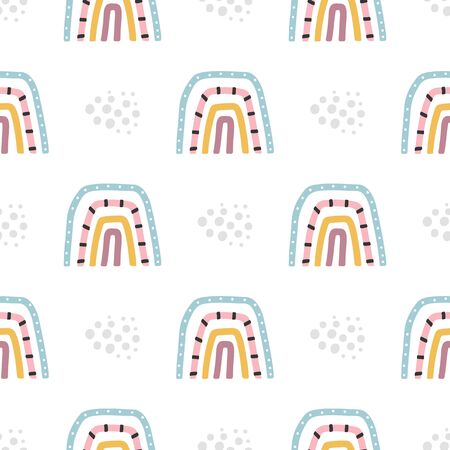 Seamless pattern with multi-colored baby rainbows. Vector illustration.
