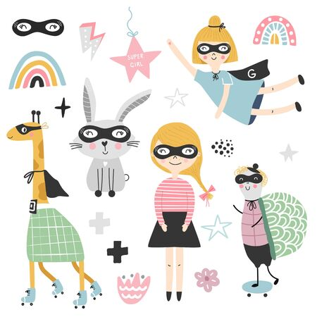 A large set of kids superheroes animals and elements. Vector illustration clip art.