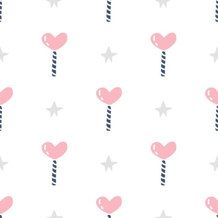 Seamless pattern with pink candy lollipop. Vector illustration.