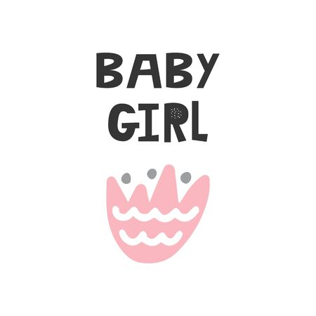 Baby Girl - Kids superhero poster with black and white hand drawn lettering. Baby nursery wall art. Vector illustration.