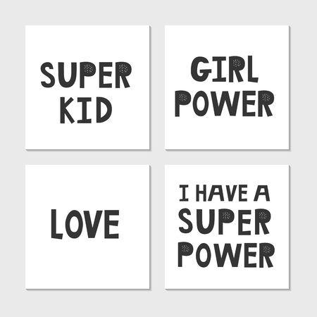 Collection of superhero black and white hand drawn lettering. Vector illustration set. Illusztráció