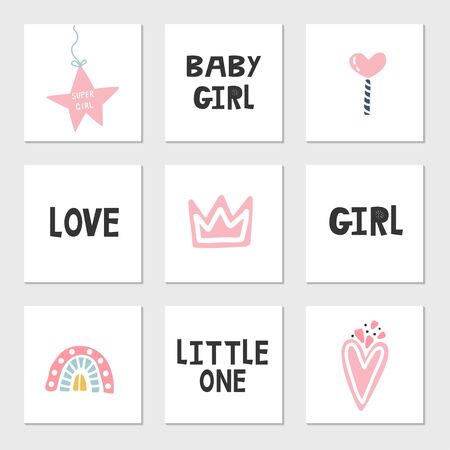 Set of baby girl's elements and lettering. Clip art collection, vector illustration.