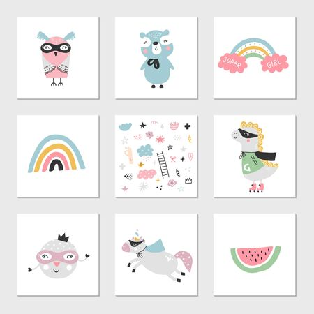Set of children's posters with superhero characters, animals and lettering. Clip art collection, vector illustration.
