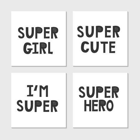 Collection of superhero black and white hand drawn lettering. Vector illustration set. Vettoriali