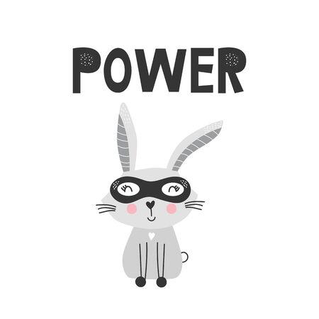 Kids poster with cute hare animal superhero and hand drawn lettering. Baby nursery wall art. Vector illustration.