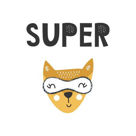 Kids poster with cute fox animal superhero and hand drawn lettering. Baby nursery wall art. Vector illustration.
