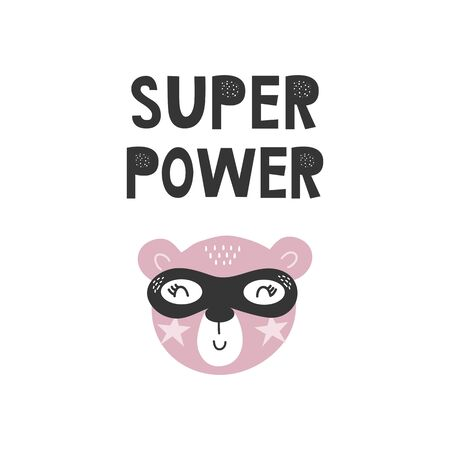 Kids poster with cute bear animal superhero and hand drawn lettering. Baby nursery wall art. Vector illustration. 矢量图像