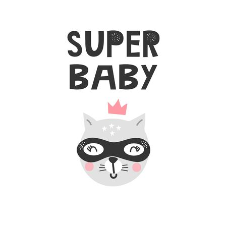 Kids poster with animal cat superhero and hand-drawing lettering. Baby nursery wall art. Vector illustration. 矢量图像