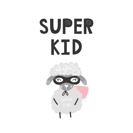 Kids poster with cute sheep animal superhero and hand drawn lettering. Baby nursery wall art. Vector illustration. 矢量图像