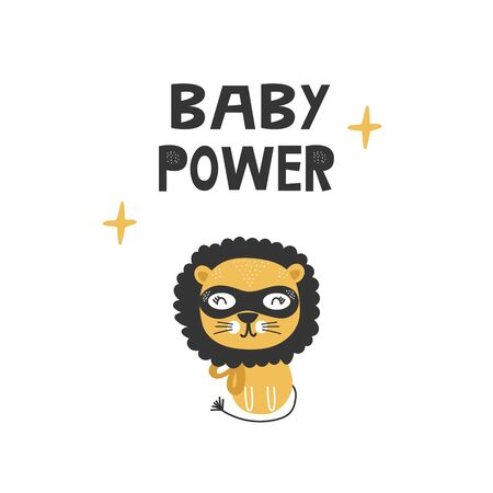 Kids poster with cute lion animal superhero and hand drawn lettering. Baby nursery wall art. Vector illustration.
