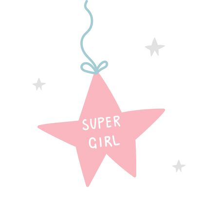 Super Girl - Kids superhero poster with star and hand drawn lettering. Baby nursery wall art. Vector illustration.