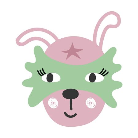 Cute cartoon hare animal. Superhero character, vector illustration. 矢量图像