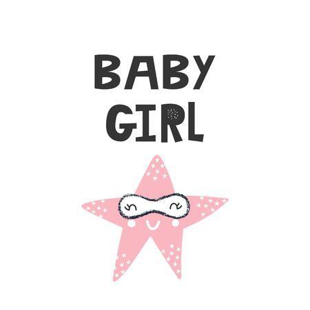 Baby Girl - Kids superhero poster with star and hand drawn lettering. Baby nursery wall art. Vector illustration.