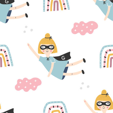 Seamless pattern with superhero girl and color baby rainbows. Vector illustration.