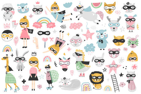 A large set of kids superheroes characters, animals and elements. Vector illustration clip art. 免版税图像