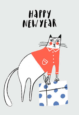 Happy New Year - Christmas poster with white handdrawn cat in red jacket and gift box. 矢量图像