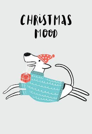 Christmas Mood - New Year poster with white running dog with gift box and santa hat. 矢量图像