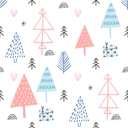Christmas seamless pattern with different types of Christmas trees.