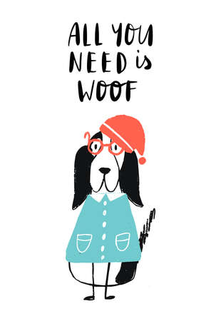 All you need is woof - Christmas Poster with white dog in santa hat and lettering.