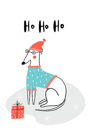 Ho ho ho - Christmas Poster with white Italian greyhound dog in santa hat and gift box. 矢量图像