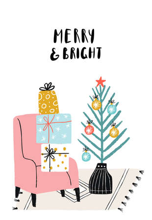 Merry and Bright - New Year poster with home interior and lettering. Christmas tree and chair with a gift boxes.