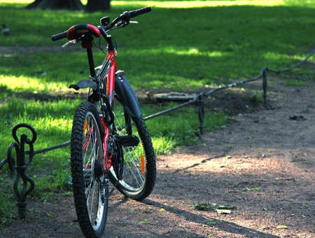 Red bicycle in a park