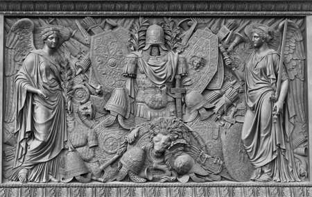 Basrelief in honour of Russia s victories Stock Photo