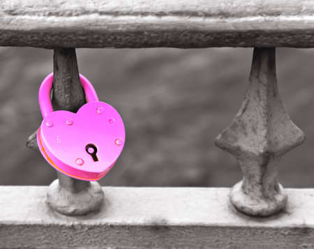 Pink padlock in a heart shape Stock Photo - 14975757