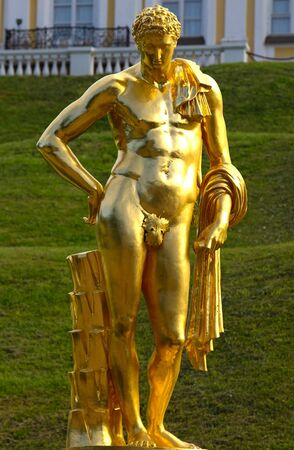 peterhof: Golden statue of man in Peterhof