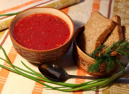 Russian tasty hot borsch, traditional food Stock Photo