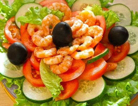 Shrimp salad with olives Stock Photo
