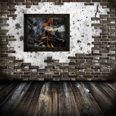 Room with a picture - artwork in painting style, vintage Stock Photo