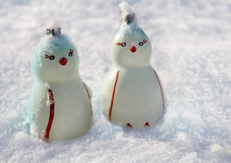 Two penguins, Christmas decorations