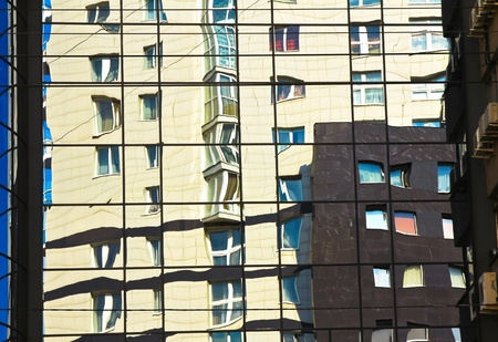 Reflections in high rise windows Stock Photo