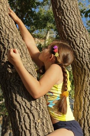 Girl climb a tree Stock Photo