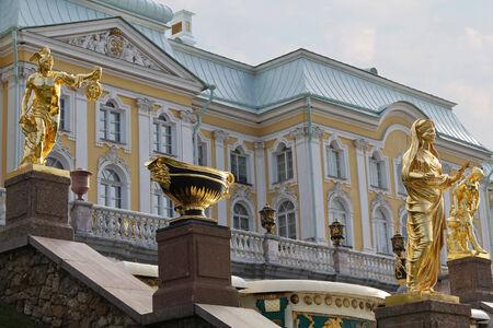 Gold statues in Peterhof Editorial