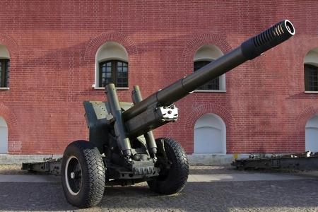 Gun in Peter and Paul Fortress in St  Petersburg