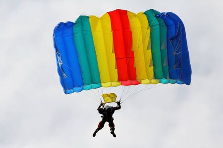 parachute jumping Stock Photo
