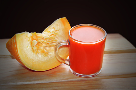 mug of pumpkin juice Stock Photo