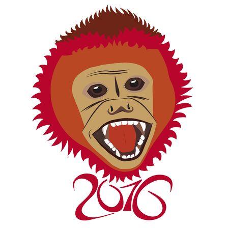 Red New Year Monkey Illustration