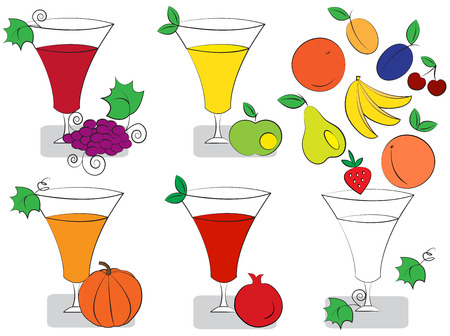 Glasses of fruit juice Illustration