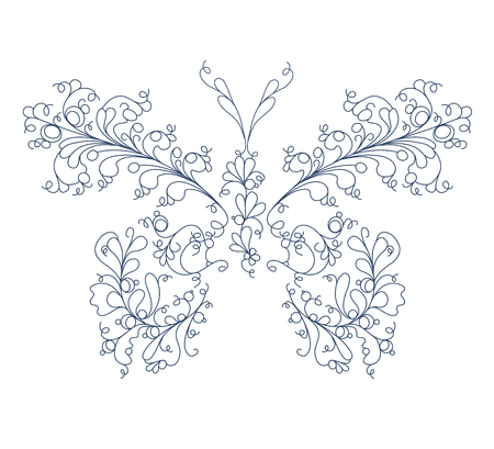 Hand drawn floral butterfly Illustration