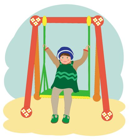 green beret: Little girl on a swing