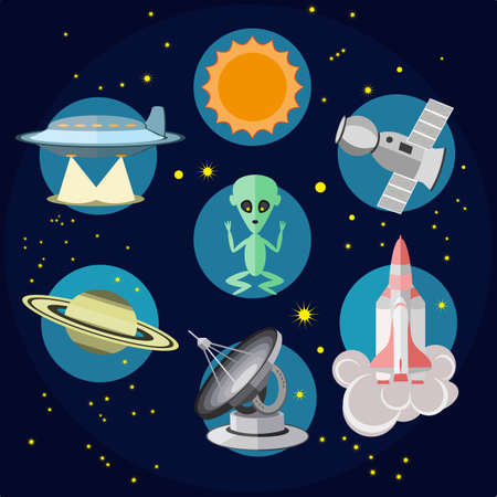 space station: Space icons in flat style. Vector alien, UFO, sun, radio telescope, rocket, shuttle space ship, planet and union station illustration Illustration