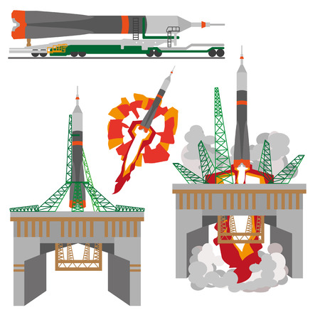 Space rocket launch vector flat illustration on white background