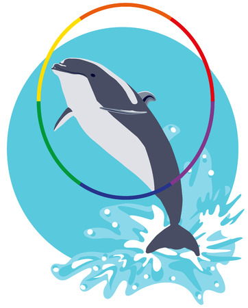 Dolphin jumping out of water vector flat illustration