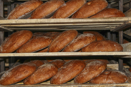 product range: Rye bread on shelves Stock Photo